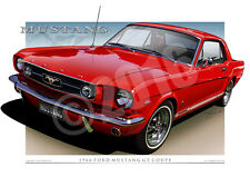 1966 Mustang GT Coupe Art Prints - Mustang Car Drawings By Unique Autoart