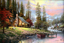 "Thomas Kinkade Peaceful Retreat 12"" x 18"" Classic Edition Framed Canvas"