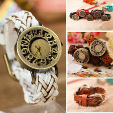 Fashion Womens Lady Retro Vintage Cute Weave Band PU Leather Quartz Wrist Watch