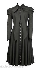 Black Victorian Gothic Steampunk Romantic Vintage Vamp Button Tunic Dress