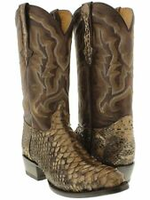 mens brown real python snake skin genuine leather cowboy boots rodeo round toe