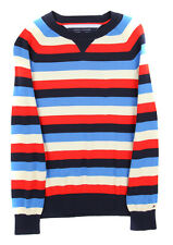 Tommy Hilfiger Men's Tan Red Blue Navy Stripe Sweater Top Ret $89.50 New
