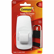 Command Jumbo Self Adhesive Damage Free Hanging Hook 17004 White Holds Strong
