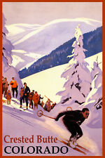 SKI MOUNT CRESTED BUTTE COLORADO SKIING WINTER SPORT USA VINTAGE POSTER REPRO