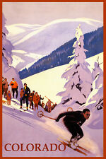 SKI COLORADO MOUNTAINS DOWNHILL SKIING WINTER SPORT TRAVEL VINTAGE POSTER REPRO