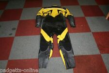 BELSTAFF BLACK YELLOW GREY MENS TWO PIECE LEATHER MOTORCYCLE SUIT VARIOUS SIZES
