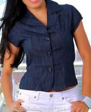 Blue Stretch Denim Cropped Cap Sleeve Jean Jacket Top
