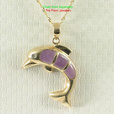 TPJ Elegant & Beautiful Lavender Jade Hand Carved Dolphin 14k Solid Gold Pendant