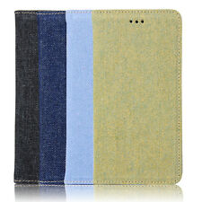 Denim Jeans Cloth Automatically Pull Card Cover Case Skin For iPhone 6 6s Plus
