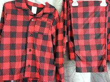 boy Pajama set 100% polyester 4/5, 6/7 or 8 boys red check plaid Faded Glory