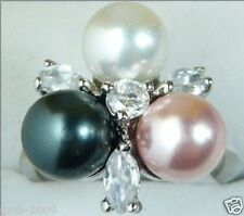 Fashion Women's 8mm Multicolor South Sea Shell Pearl Crystal Ring Size 7/8/9