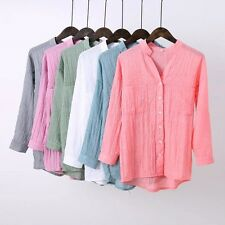 6 Colors 5 Size Womens Summer Solid 3/4 Sleeve Button Down Shirt Blouse Tops