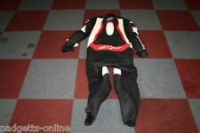 ALPINESTARS BLACK WHITE RED MENS ONE PIECE LEATHER MOTORCYCLE SUIT SIZE UK 46