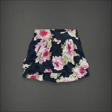 NWT ABERCROMBIE Womens Piper Floral Rose Skirt navy blue M
