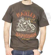 Harley-Davidson Mens Distressed Skeleton Rider Brown Short Sleeve T-Shirt