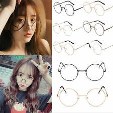 Classic Unisex Metal Frame Clear Round Lens Glasses Nerd Spectacles Eyeglass W8