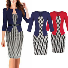 Elegant Womens Formal Office Business Pencil Dress Peplum Bodycon Midi Dresses
