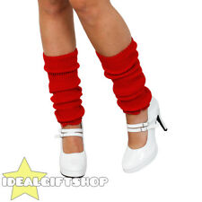 RED LADIES 1980'S LEG WARMERS ADULTS DISCO FANCY DRESS LEGWARMER TUTU