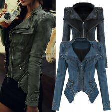 Women Punk Studded Shoulder Denim Jeans Coat Lapel Jacket Blazer Outerwear B20E