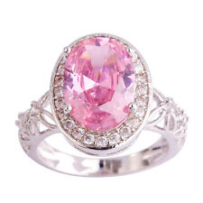 Size 6 7 8 9 10 11 Pink White Topaz Gemstones Silver Ring Oval Cut Love Style