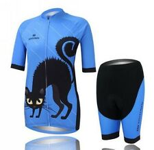 Black Cats Women's Cycling Jerseys Short Sleeve Bicycle Clothing Sets+Bib Shorts