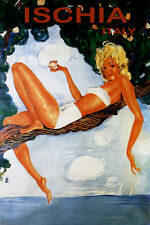 TRAVEL TO ISCHIA BEACH GIRL ON A TREE ITALY ISLAND SUMMER VINTAGE POSTER REPRO