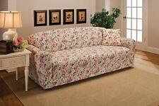 PINK FLORAL LOVESEAT SLIPCOVER-ALSO COMES IN COUCH SOFA CHAIR RECLINER FUTON