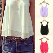 Women Casual Chiffon Double Layer Sleeveless Vest T Shirt Top Blouse Cami Tanks