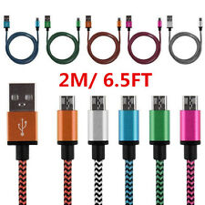 2M Universal W Shape Braided USB 2.0 A to Micro USB B Data Sync Charge Cable Lot
