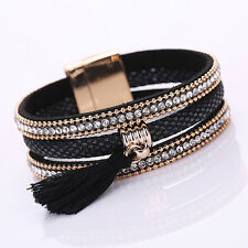 Women Punk Multilayer Lint Tassels Rhinestone Bangle Cuff Bracelet Goodish