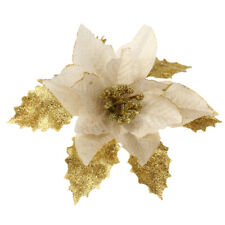 Glitter Christmas Xmas Tree Flower Poinsettia Decoration Ornaments Decor Festive