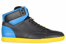 DIOR MEN'S SHOES HIGH TOP LEATHER TRAINERS SNEAKERS NEW BLUE 8D9