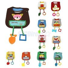 Soft Cartoon Cotton Toddler Infant Baby Bibs Saliva Pinafore with Teethers Toys