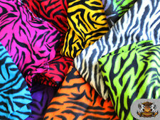 "Polar Fleece Printed Fabric ZEBRA 60"" Wide Sold By the Yard"