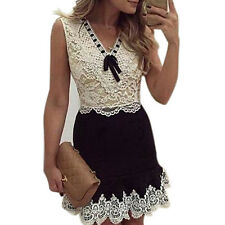 WOMEN SEXY SUMMER LACE PATCHWORK BOWKNOT PARTY COCKTAIL MINI DRESS NEW NICE