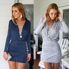 Sexy Women Long Sleeve Deep V Neck Bodycon Evening Party Cocktail Mini Dress TY