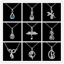 Many Types 925Sterling Silver Zircon Gadget Pendant Lady Chains Necklace