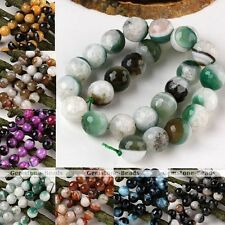 12/14mm Crystal Agate Round Two-tone Ball Gemstone Loose Bead Jewelry Making DIY