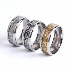 Fashion Punk Sz6-12 Silver Black Gold Stainless Steel Mens Band Rings Wedding