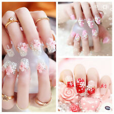 24X Fashionable 3D Bride Wedding False Artificial Fake Nails Tips French