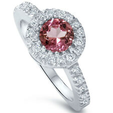 Pink Tourmaline 3/4ct Pave Halo Diamond Ring 14K White Gold Round Solitaire
