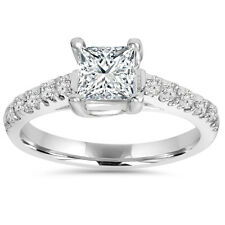 1 1/4ct Vintage Diamond Princess Cut Enagement Ring 14K White Gold Enhacned