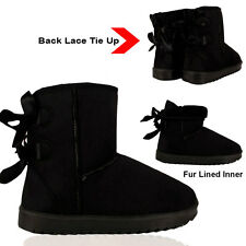 Girls Ladies Snug Boots Fur Lined Winter Back Lace Tie up Bow Warm Ankle Shoes