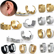 1Pair Punk Mens Womens Crystal Stainless Steel Ear Hoop Stud Earrings Gauges WEB