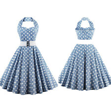 Womens Vintage Belted Polka Dot 50s 60s Rockabilly Big Circle Swing Dance Dress