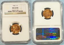 1962 NGC MS66RD LINCOLN CENT 1c  MS 66 RD RED
