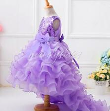 Flower Girl Kids Sequins Trailing Tulle Dress Party Pageant Wedding Formal Gown