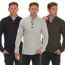 Mens Chunky Cable Knit Jumper Button Up Crew Neck Sweater Knitwear Wool Blend