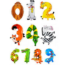 1pc Happy Birthday Animal Number Balloon Air Mylar Balloon Party Favor Funny