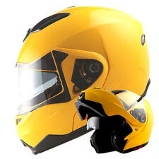 1STorm DOT Motorcycle Modular Flip up Full Face Helmet Sun Visor Glossy Yellow